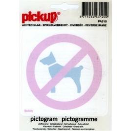 Pictogramme inversé interdit aux chiens 10 x 10 cm