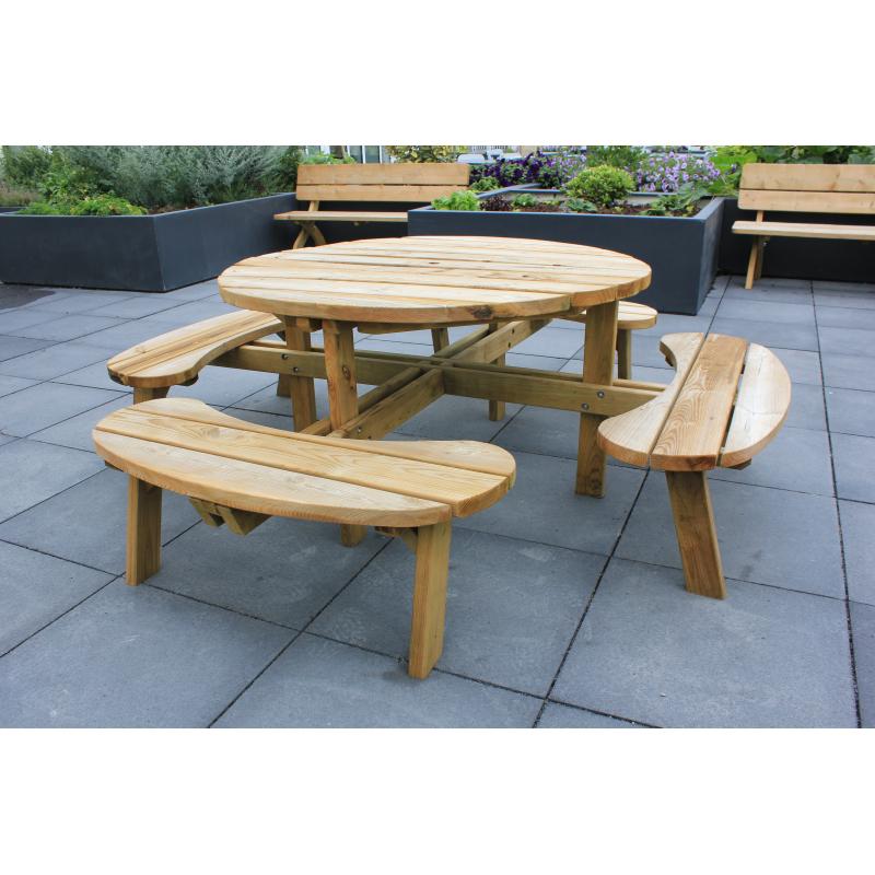 Table De Pique Nique Ronde 2196 X 2196 X 714 Cm Solid Mrbricolage
