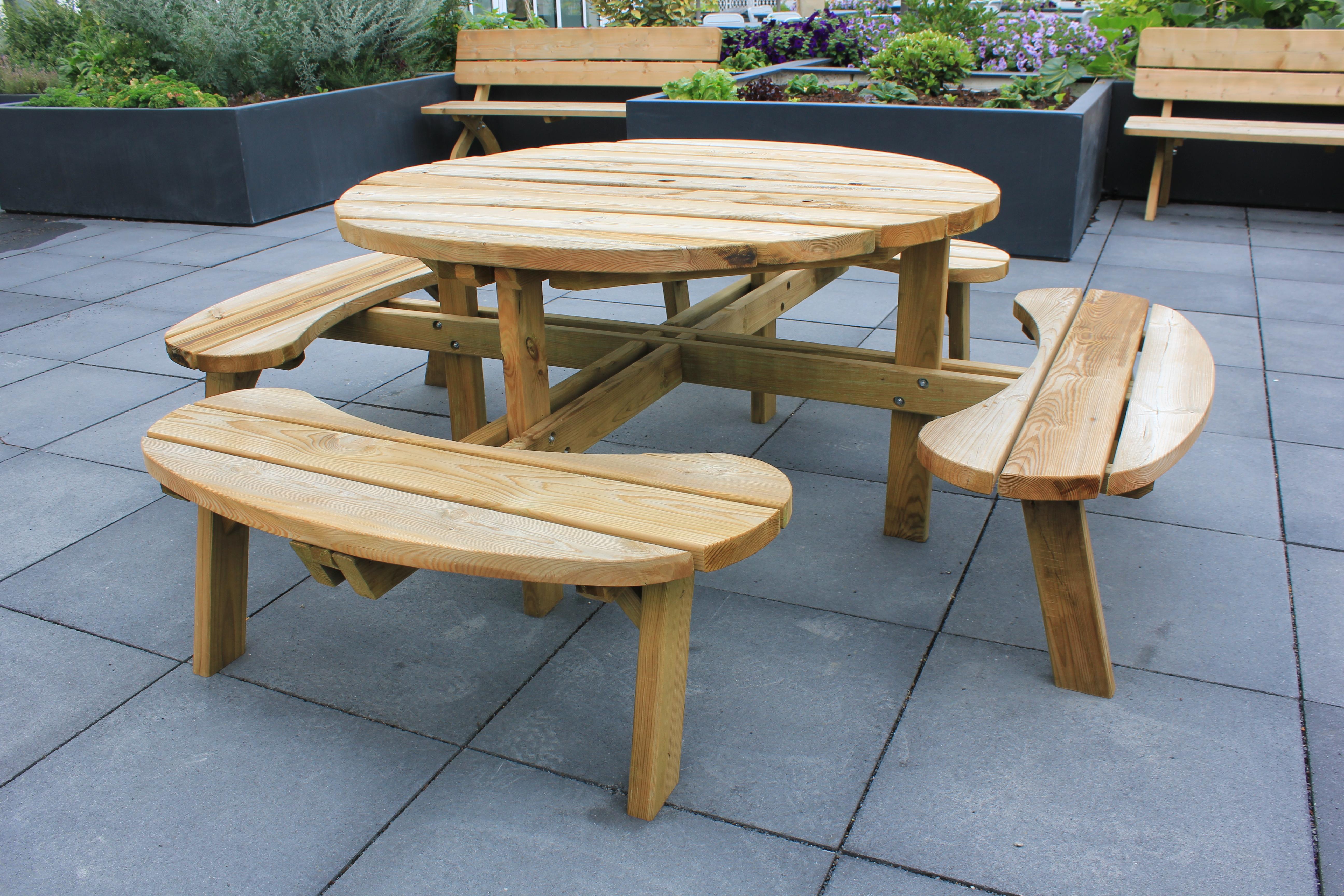 Table de pique-nique ronde 9,9 x 9,9 x 9,9 cm SOLID - Mr.Bricolage