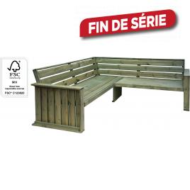 Banc d'angle de jardin en bois