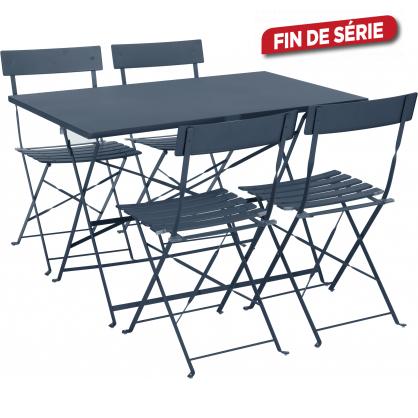 Ensemble bistro 1 table rectangulaire et 4 chaises pliantes - Table de jardin metal mr bricolage ...