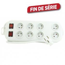 Multiprise 8 prises avec 2 interrupteurs 2 m blanc PROFILE