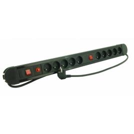 Multiprise 10 prises avec 2 interrupteur 1,5 m noir PROFILE