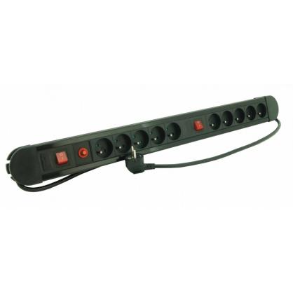 Multiprise 10 prises avec 2 interrupteur 1 5 m noir profile - Multiprise 10 prises ...