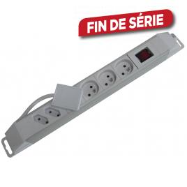 Multiprise 1,5 m avec fiche plate et interrupteur blanc PROFILE - 6 prises