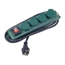 Multiprise 4 prise pour extérieur avec interrupteur 1,5 m vert PROFILE