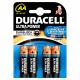 Set de piles alcalines AA Ultra Power 4 pièces DURACELL