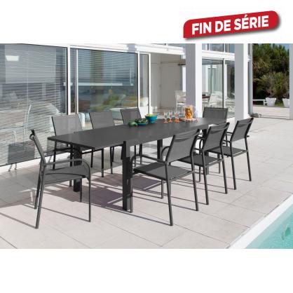 Ensemble de jardin Elyse : 1 table et 8 fauteuils