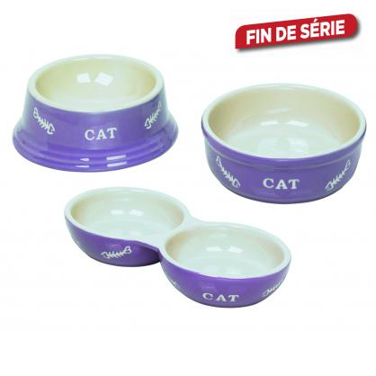 Gamelle mauve en terre cuite pour chat 2 pièces