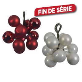 Botte de 10 boules de Noël en verre DECORIS - Blanc ou rouge