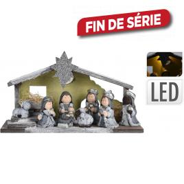 Crèche de Noël en céramique et bois avec LED