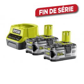 Kit avec chargeur rapide et 2 batteries Lithium 18 V 5,0 Ah RYOBI
