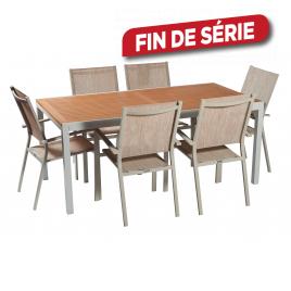 Ensemble de jardin Ibiris III : 1 table et 6 fauteuils