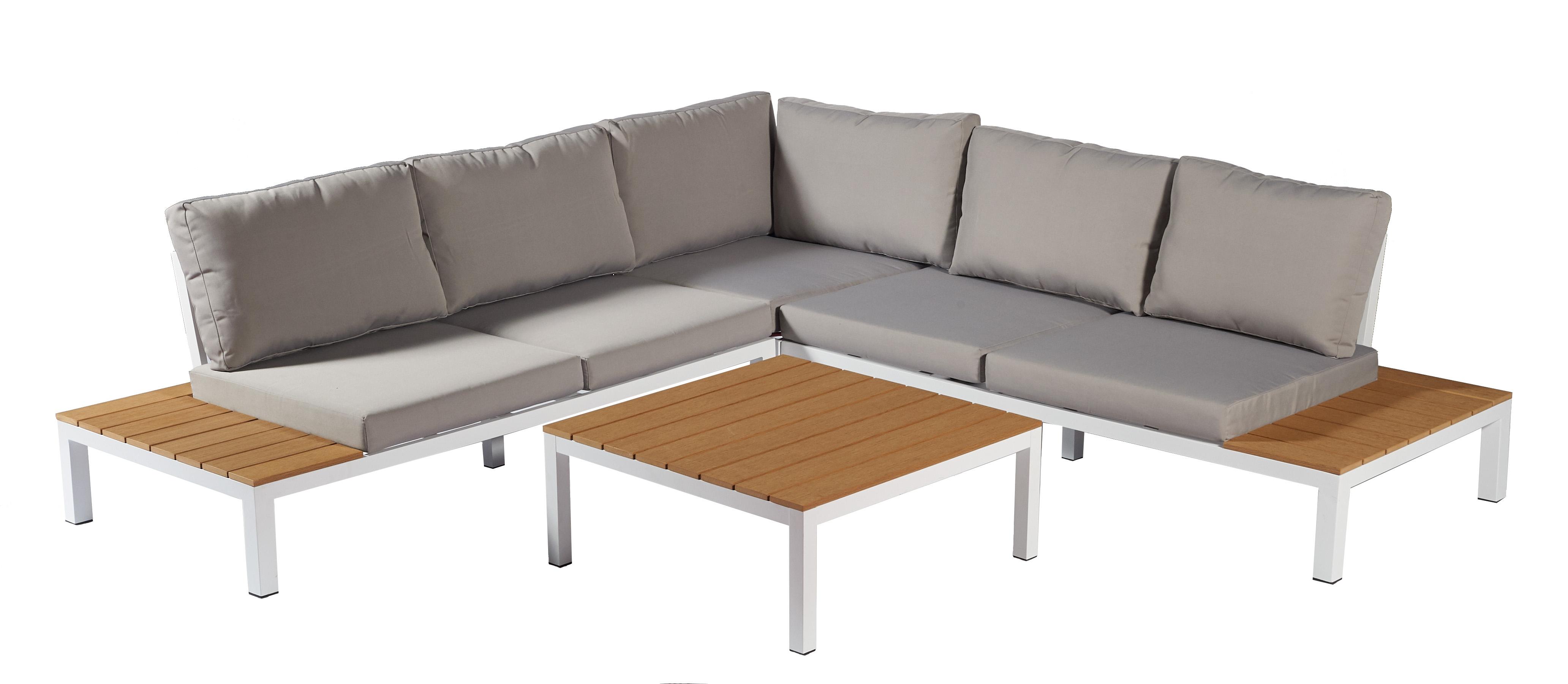 Salon d\'angle de jardin avec table Isa - Mr.Bricolage