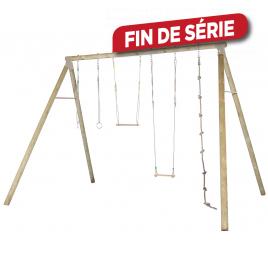 Portique en bois 4 personnes avec balançoires Oliver