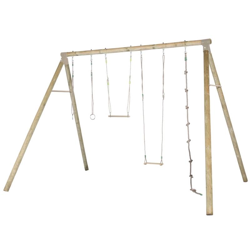 Portique en bois Forester avec balançoire, trapèze, … Trigano