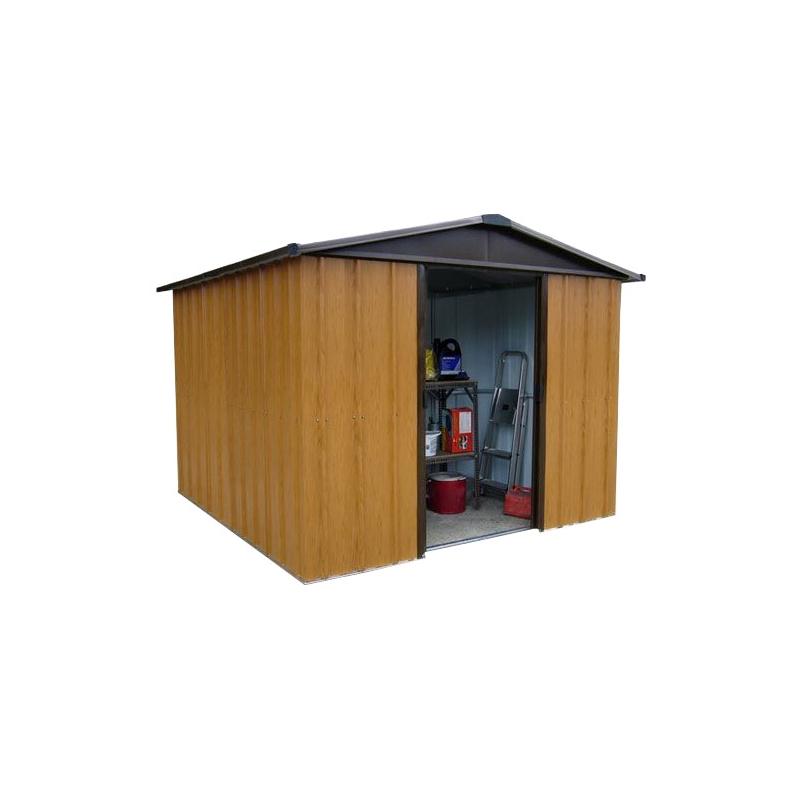 Abri de jardin en métal aspect bois 3,03 x 3,96 x 2,12 m - Mr.Bricolage