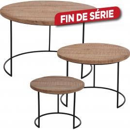 Set de tables d'appoint en bois avec pieds en métal 3 pièces