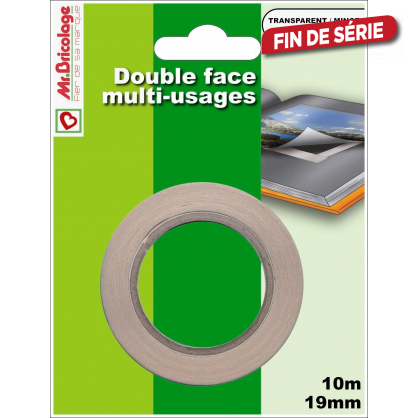 Double face multi-usages transparent 10 m x 19 mm