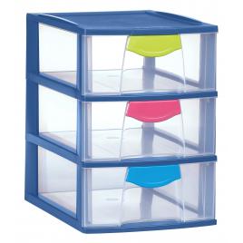 Box Magic bleu océanic avec 3 tiroirs 3 x 3 L