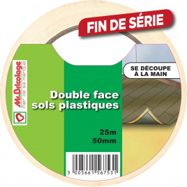 Double face sols plastiques 25 m x 50 mm blanc