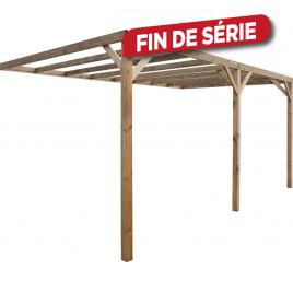 Carport en bois à adosser 3 x 5 x 2,41m