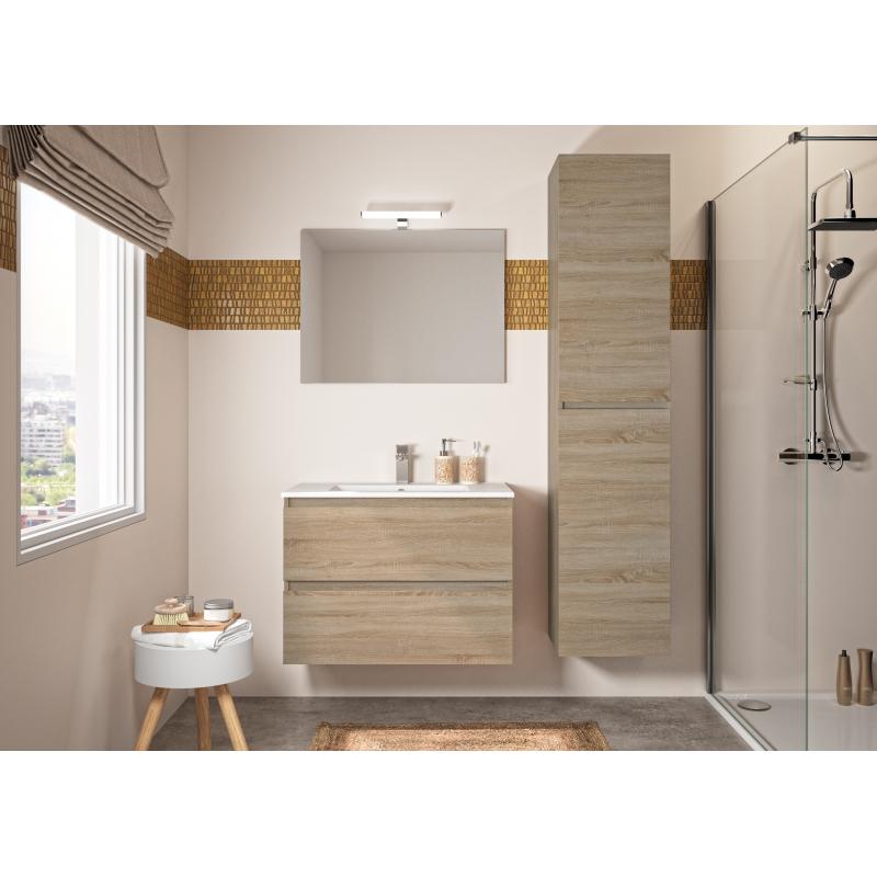 Ensemble de salle de bain Bazil avec tiroirs 80 cm chêne hamilton ALLIBERT  - Mr.Bricolage
