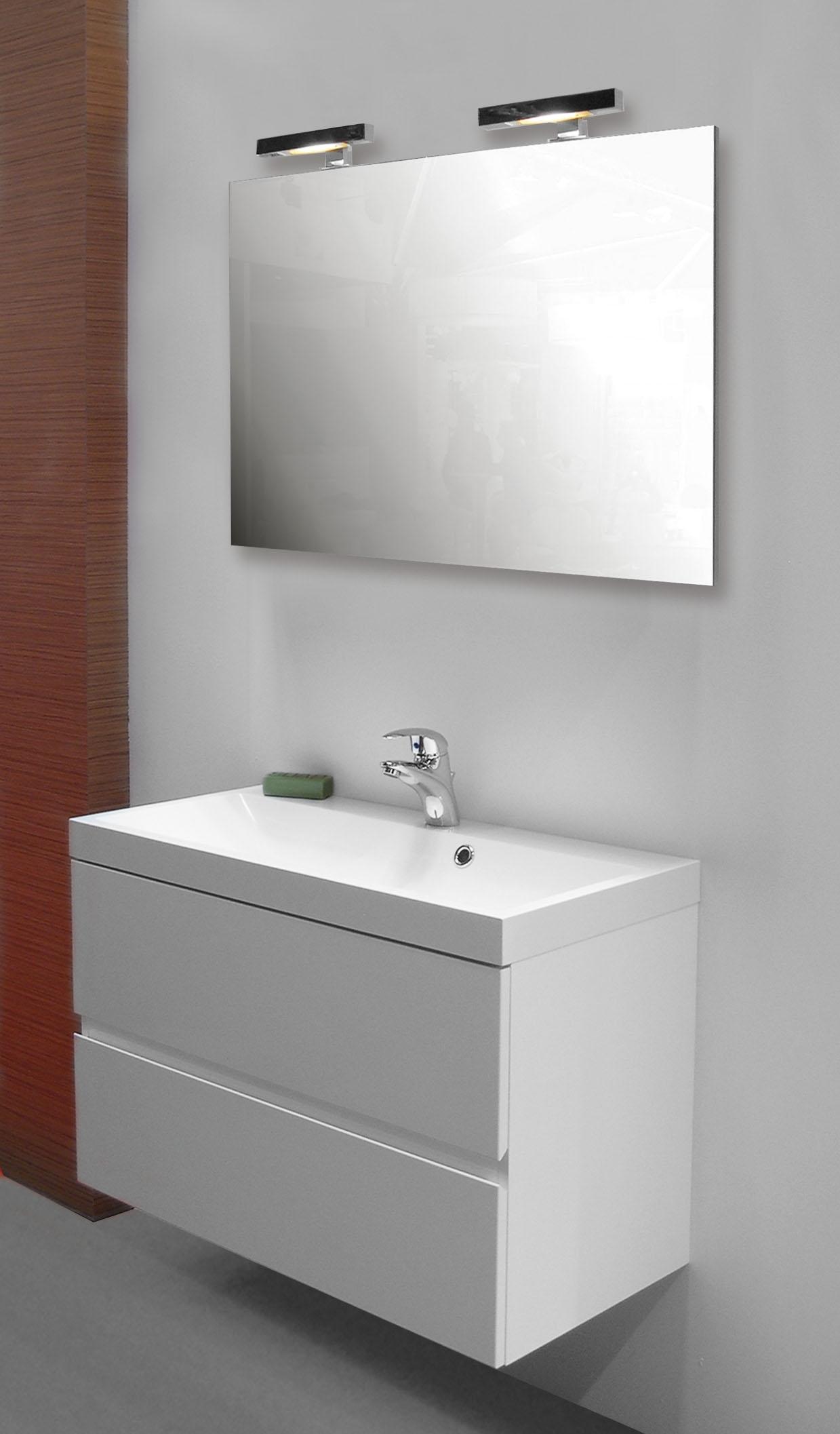 Tablette Salle De Bain 80 Cm ensemble de salle bain roxanne 80 cm blanc van marcke - mr.bricolage