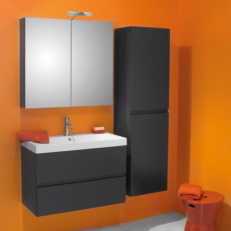 Ensemble de salle bain Roxanne avec armoire de toilette 80 cm anthracite  VAN MARCKE - Mr.Bricolage