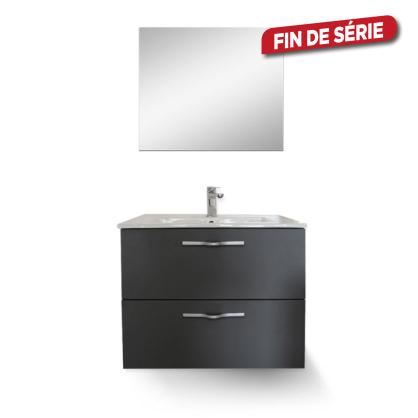 Meuble de salle de bain suspendre tadao gris 60 cm lt aqua - Meuble de salle de bain mr bricolage ...