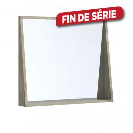 Miroir avec cadre étagère Chelsea 80 cm acacia massif ALLIBERT