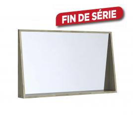 Miroir avec cadre étagère Glasgow 120 cm acacia massif ALLIBERT