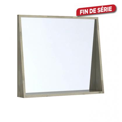 miroir avec cadre tag re glasgow 80 cm acacia massif allibert. Black Bedroom Furniture Sets. Home Design Ideas