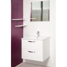 Façade de meuble de salle bain Mixy blanc laqué 60 cm 2 pièces
