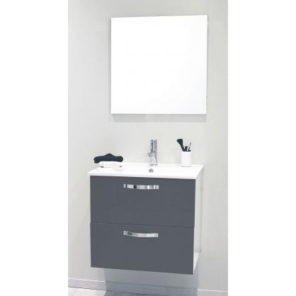 fa ade de meuble de salle bain mixy gris 60 cm 2 pi ces. Black Bedroom Furniture Sets. Home Design Ideas