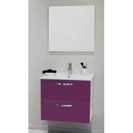 Façade de meuble de salle bain Mixy aubergine 80 cm 2 pièces