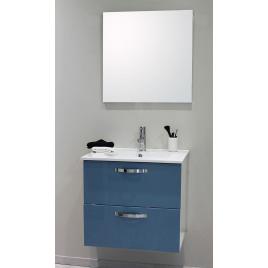 Façade de meuble de salle bain Mixy bleu laqué 80 cm 2 pièces