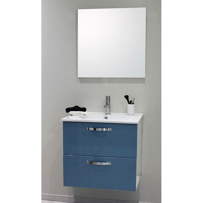 Façade de meuble de salle bain Mixy bleu laqué 80 cm 2 pièces - Mr.Bricolage
