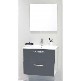 Façade de meuble de salle bain Mixy gris 80 cm 2 pièces