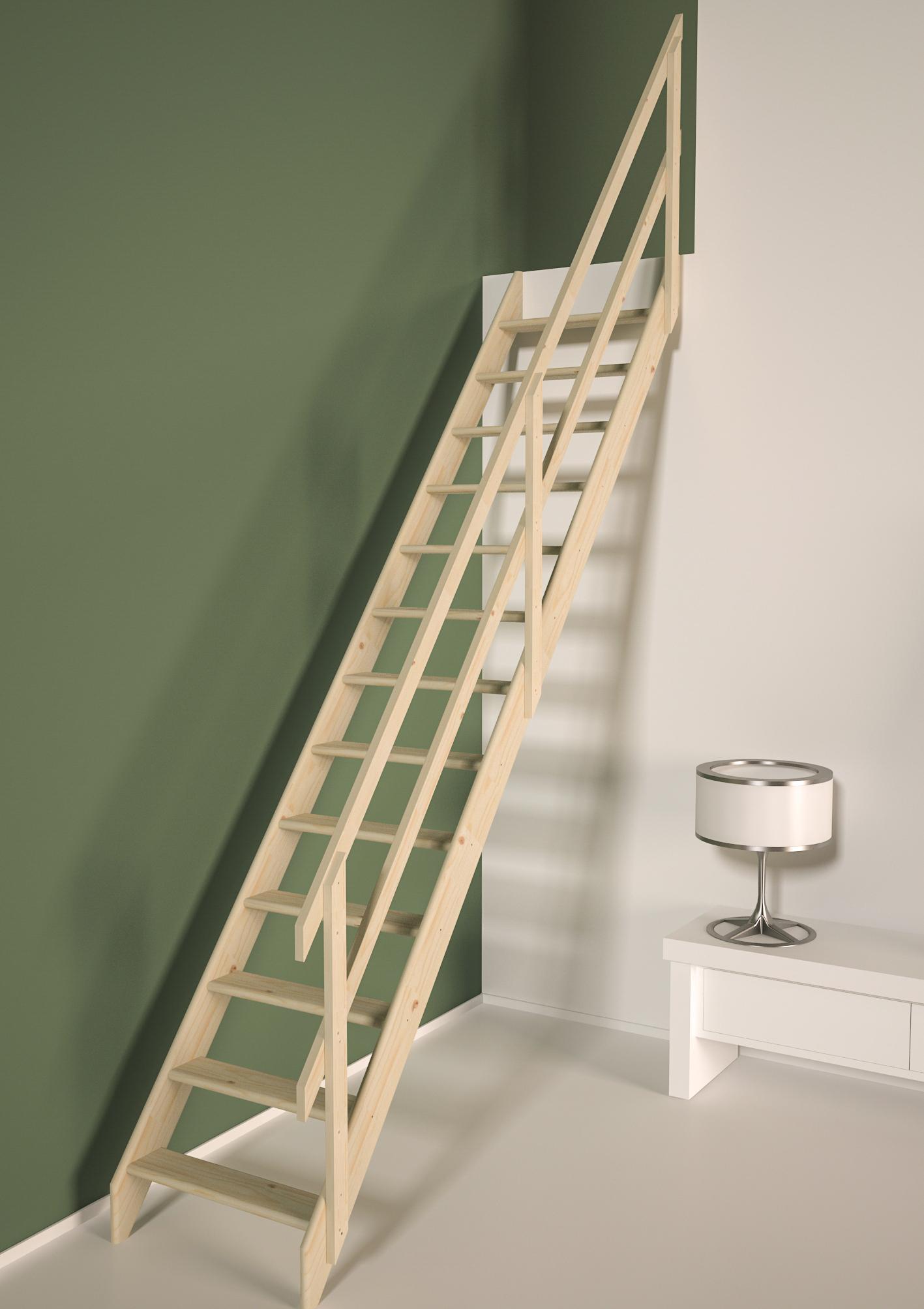 Plan De Travail Bois 280 escalier de meunier avec rampe en bois cottage junior 280 x 65 cm sogem -  mr.bricolage