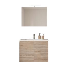 Ensemble de salle de bain Bazil avec portes 80 cm chêne hamilton ALLIBERT