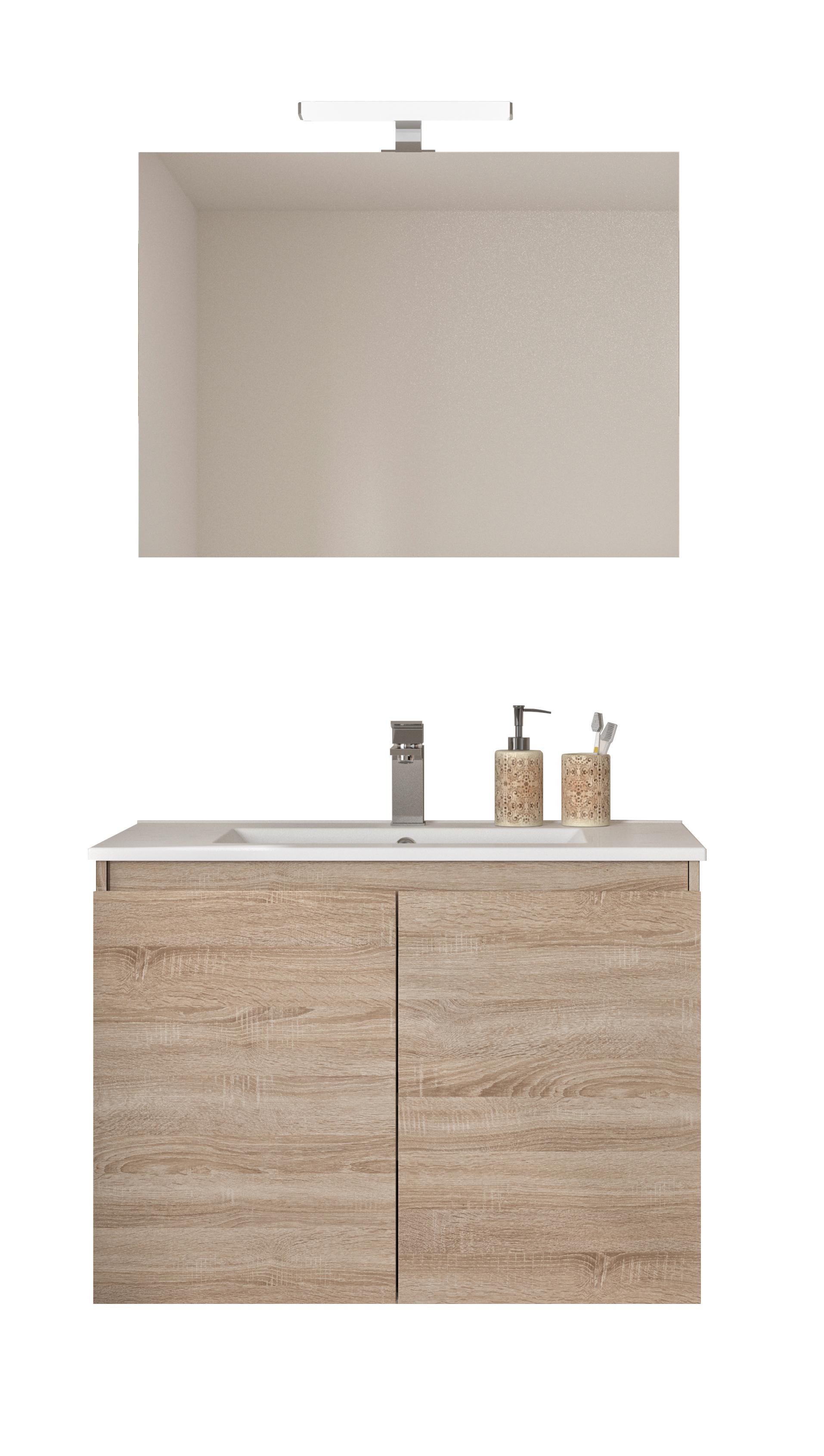 Tablette Salle De Bain 80 Cm ensemble de salle de bain bazil avec portes 80 cm chêne