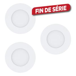 Spot encastrable blanc Fueva 1 LED Ø 8,5 cm 2,7 W 3 pièces EGLO