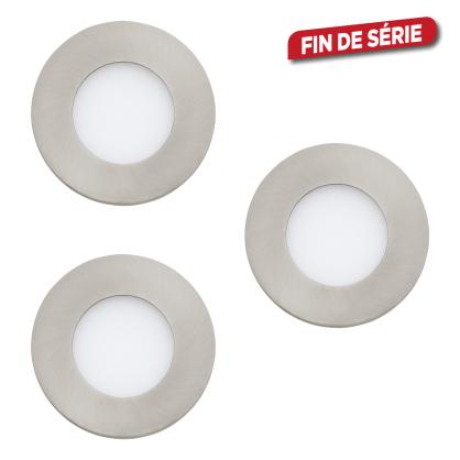 Spot encastrable nickel mat Fueva 1 LED Ø 8,5 cm 2,7 W 3 pièces EGLO
