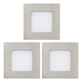 Spot encastrable nickelé mat Fueva 1 LED 8,5 x 8,5 cm 2,7 W 3 pièces EGLO