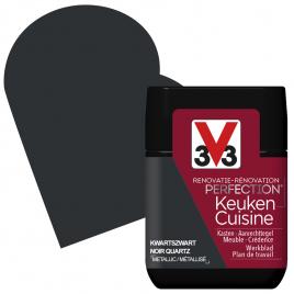 Peinture de rénovation pour cuisine Noir Quartz métallisé 75 ml V33