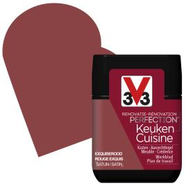Peinture de rénovation pour cuisine Rouge Exquis satin 75 ml V33