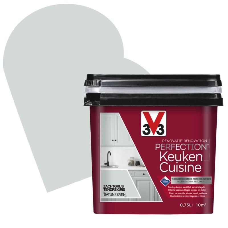 Peinture De Rénovation Pour Cuisine Tendre Gris Satin 0 75 L V33 Mr Bricolage