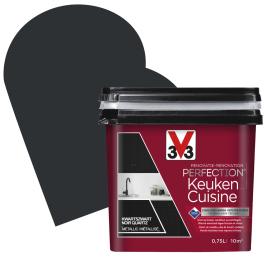 Peinture de rénovation pour cuisine Noir Quartz métallisé 0,75 L V33