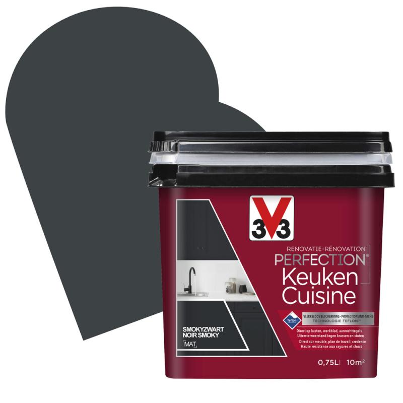 Peinture De Rénovation Pour Cuisine Noir Smoky Mat 0 75 L V33 Mr Bricolage